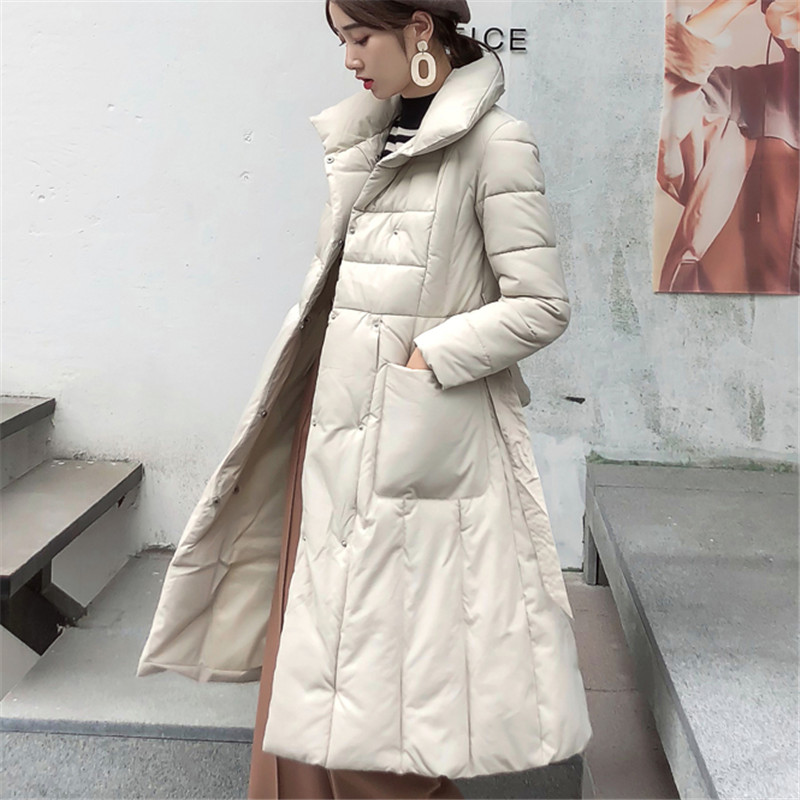 Korean Fashion Woman Downs Jacket Winter Down Jacket Women Belt Puffer OL Jacket Plus Size Down Jacket Women Womens Down Jackets