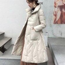цена Korean Fashion Woman Downs Jacket Winter Down Jacket Women Belt Puffer OL Jacket Plus Size Down Jacket Women Womens Down Jackets