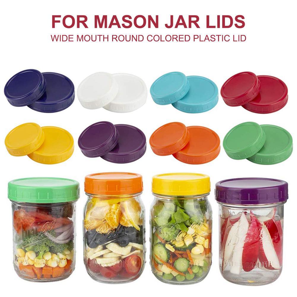 Aihome 16 Lebar Mulut Biasa Cover untuk Mason Jar Tutup Bulat Plastik Cover Penyimpanan Tutup