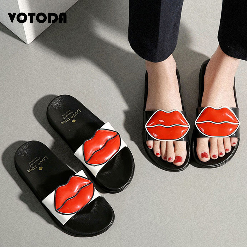 Summer Women Red Lips Slippers Fashion Flat Slides Outdoor Casual  Beach Sandals Soft Non Slip Comfortable Shoes Home Flip Flops