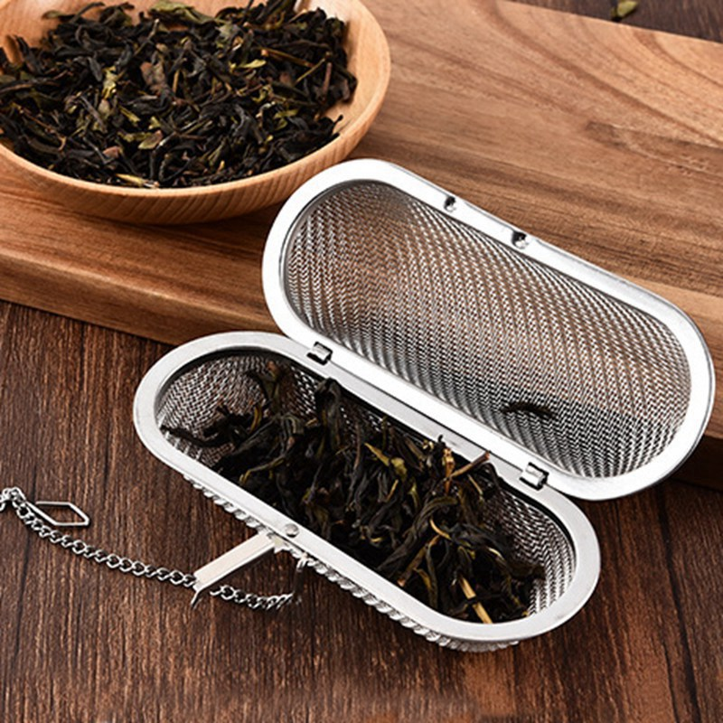 Tea Mesh Oval Shape Infuser Stainless Steel Cup Tea Strainer Tea Leaf Filter With Cover Filter Tea Strainer Kitchen Accessories