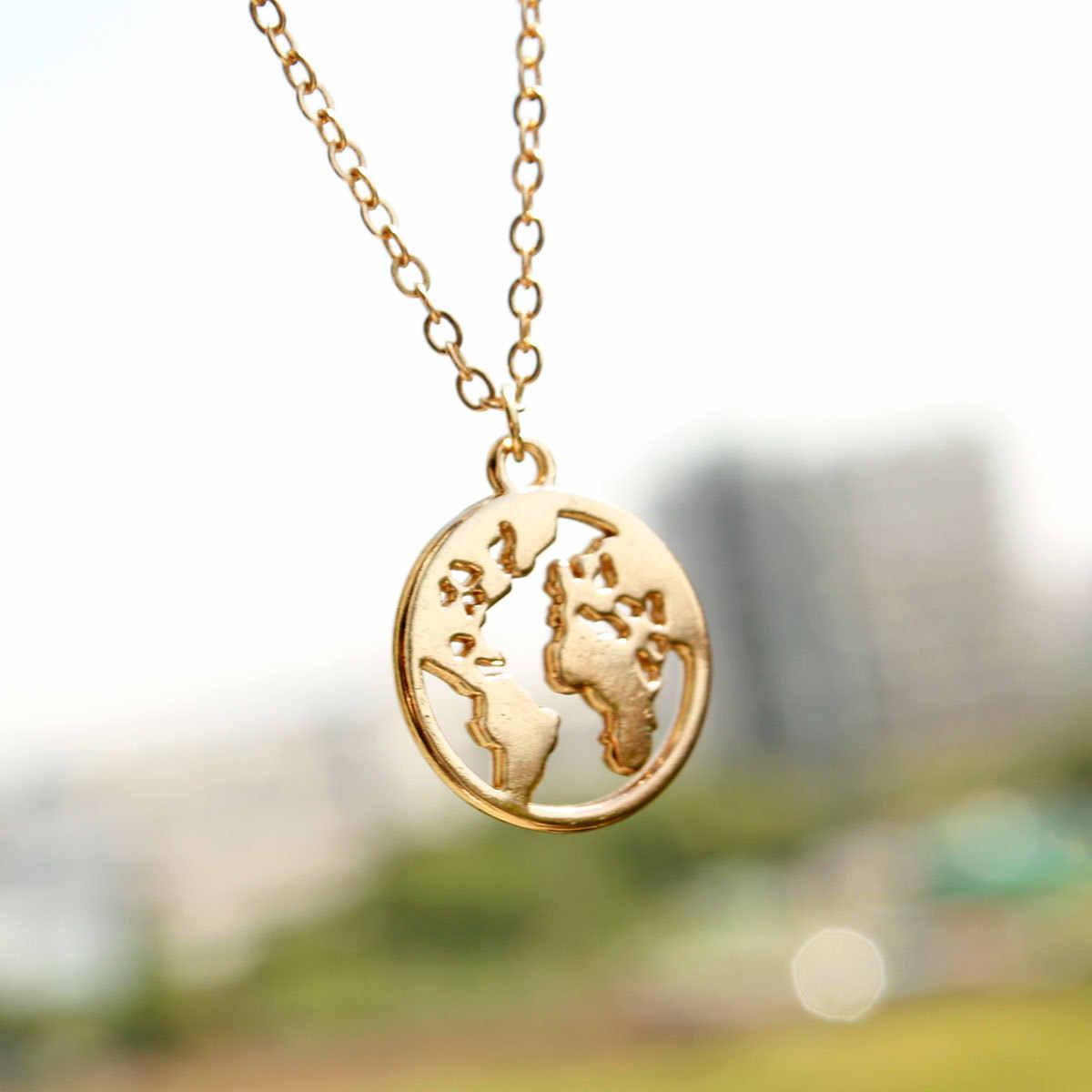 Модная круглая подвеска с картой мира, длинная цепочка, ожерелье для женщин, креативное колье, ожерелье