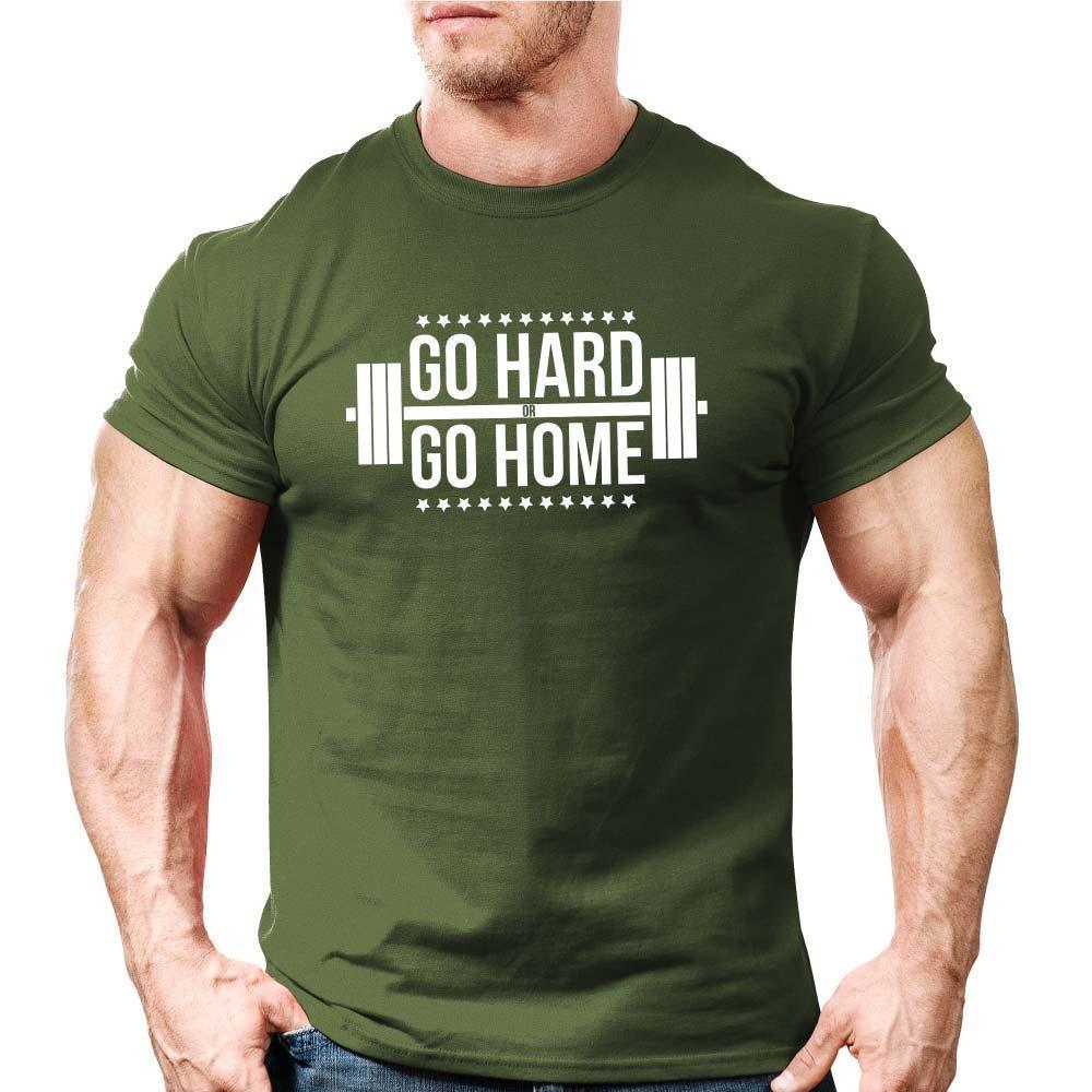 100% Quality Cotton Mens Print T-Shirt Go Hard or Go Home | Uk Body Building |Gyme Workout Trainer Motivation Offensive T Shirts