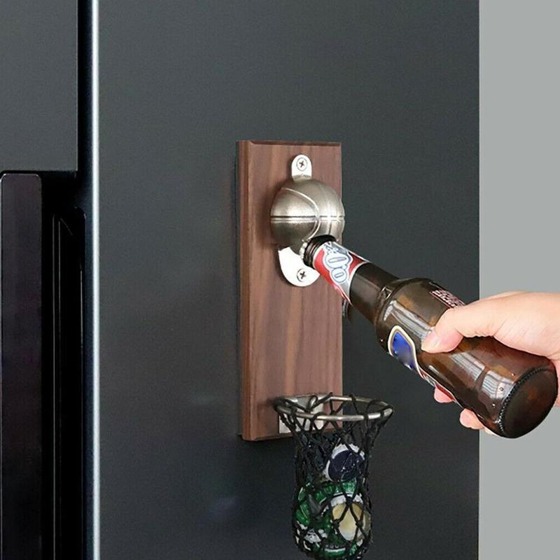Creative Wall Mount Basketball Opener Multifunction Bottle Opener Wood Fridge Magnet Kitchen Tools