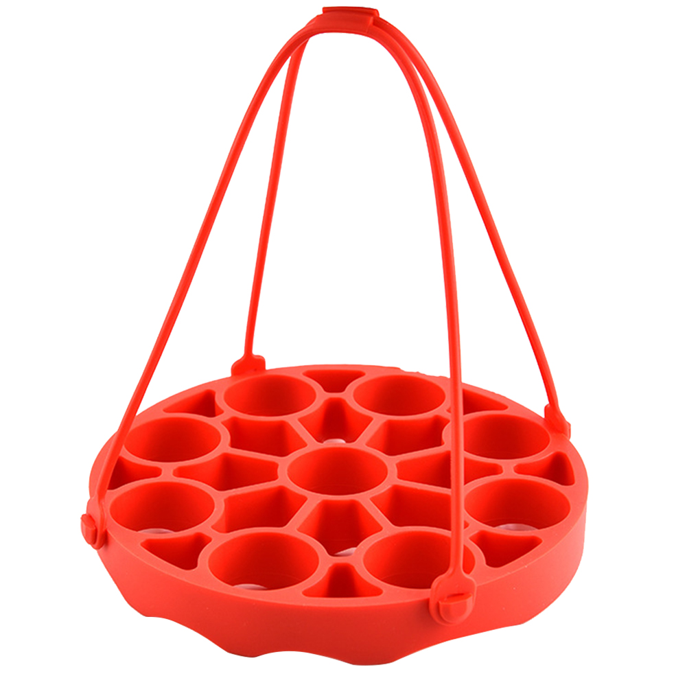 Home Mat Accessories Practical Silicone Round Basket Kitchen Heat Resistant Steamer Rack Non Toxic With Sling Pressure Cooker