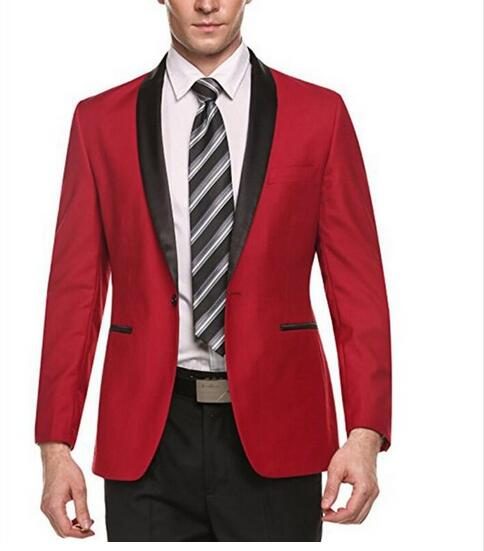 Mens-Red-Shawl-Lapel-Suit-Jacket-Formal-Casual-Slim-Fit-Coat-One-Button-Grooms-Wedding-Prom