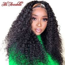 Headband Wigs Human-Hair Ali-Annabelle Curly Glueless Deep-Wave Women Brazilian for Scarf