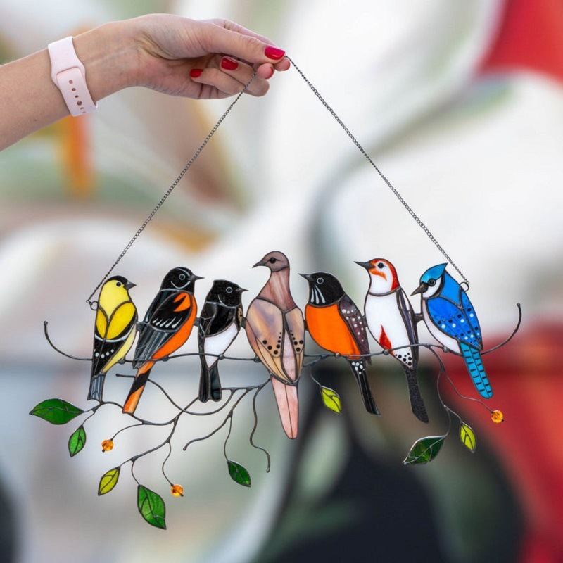 New Stained Bird Glass Window Hangings Acrylic Wall Hanging Birds Decor Mothers Day Gift Room Accessories Scandinavian Decor