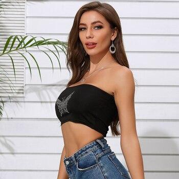 Butterfly Print Sexy Crop Tube Tops Summer Women Fashion Streetwear Club Camisole Women Tank Tops Bra Vest Crop Tops Bralette 2