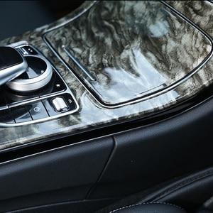 Image 5 - الرخام نمط نمط مركز وحدة التحكم زخارف اللوحات ABS 2 قطعة لمرسيدس بنز C الفئة W205 GLC X253 2015 18 الداخلية الشارات