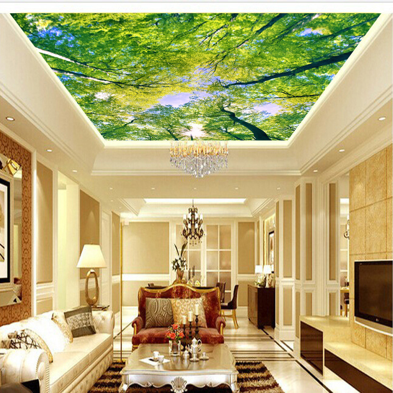 Sky Woods 3D Ceiling Wallpaper Large Mural Sen Lin Yankon Ceiling Roof Wallpaper