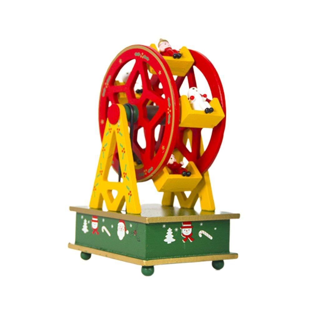 Christmas New Wood Painted Ferris Wheel Christmas Music Box Christmas Child Gift Music Box Decoration