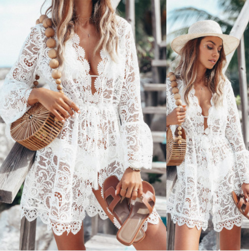 2019 Beach Dress Tunic Women Bikini Cover Up Floral Lace Hollow Swimsuit Cover-UP Party Dresses Vestidos Robe De Plage White