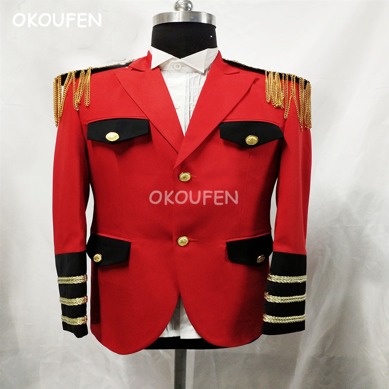 New Cool Men's Royal suits Red military uniforms Party show stage props costumes bar singer KTV students host dress set
