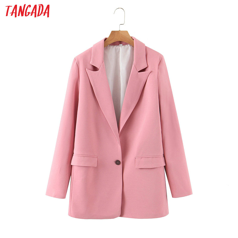 Tangada Women 2020 Pink Blazer One Button Female Long Sleeve Elegant Jacket Ladies Work Wear Blazer Formal Suits SL282