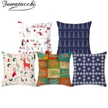 Fuwatacchi Merry Christmas Cushion Cover Cartoon Pattern Pillow for Home Sofa Decorative Throw Pillows Pillowcase