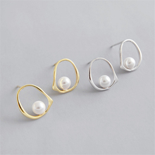 New Arrival Simple Geometric Pearl Round Studs Earrings Golden Sliver Korean Style Women Ladies Sterling Jewelry KED3265