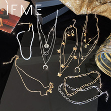 IF ME Fashion Multilayer Star Butterfly Map Chain Necklaces for Women Moon Pearl Necklace Letter Pendant Necklace Jewelry New