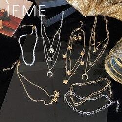 IF ME-colliers multicouches avec chaîne de papillon, étoile de carte, collier avec perles de lune, pendentif avec lettres, bijou nouveau, à la mode