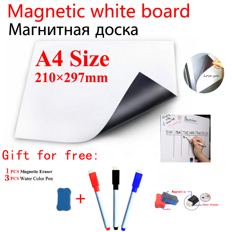 A4 Size 210*297mm Magnetic Whiteboard Fridge Marker Message Notice Pad Boards Writing Drawing Dry Eraser Magnet Free Shipping