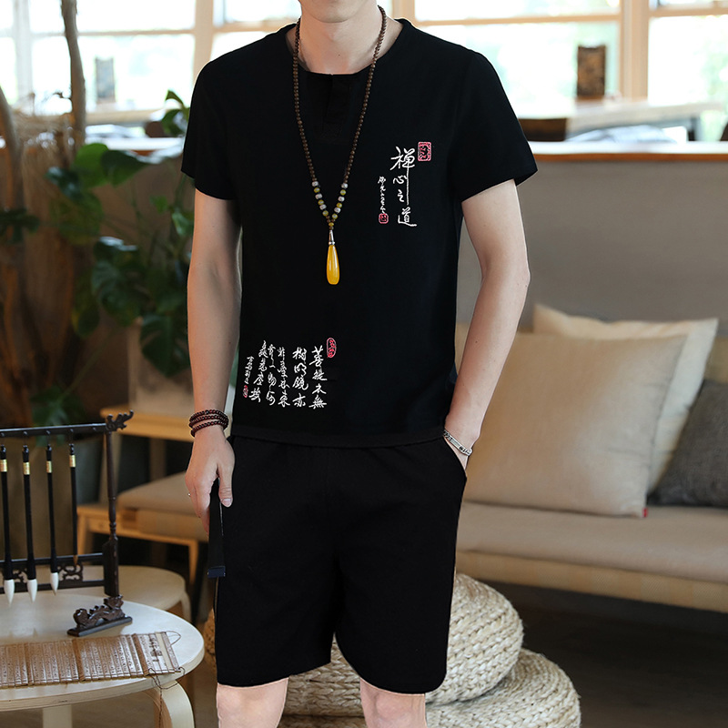 Summer Thin Section Cotton Linen Set Men's Chinese-style MEN'S Short-sleeved Shorts MEN'S Suit