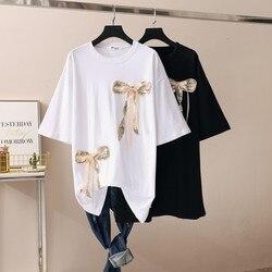 الصيف الكورية على غرار تي شيرت فستان حجم كبير الدهون ملليمتر غطاء نمط جديد النمط الغربي البطن الترتر قصيرة الأكمام منتصف طول تي شيرت فستان