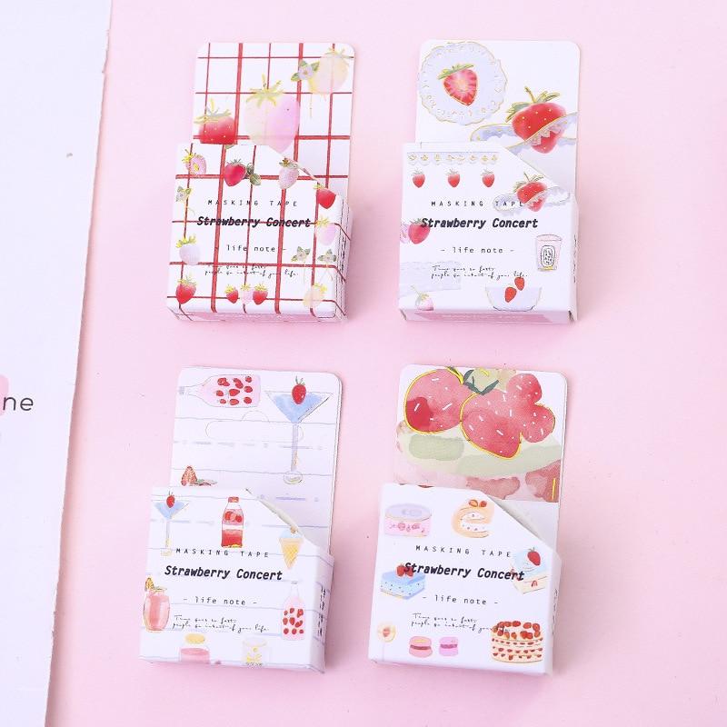 4 Pcs Washi Tape Set Masking Wash Tapes Cactus Washitape Sakura Stickers Scrapbooking Cinta Adhesiva Decorativa Strawberry