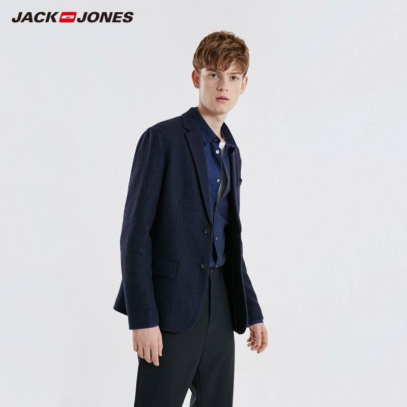 JackJones Men's Woolen Blazer Business Casual Style Slim Fit Suit Jacket Menswear 219108504