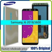 100% מקורי 5.6 סופר AMOLED LCD עבור סמסונג גלקסי J6 2018 J600F J600 תצוגה עם מסך מגע עצרת החלפה חלקי