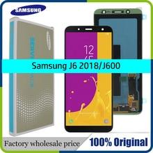 100% orijinal 5.6 süper AMOLED LCD Samsung Galaxy J6 2018 J600F J600 ekran dokunmatik ekran ile meclisi değiştirme parçaları