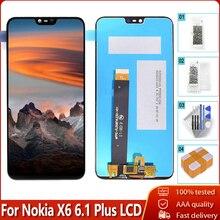"""5.8 """"ل نوكيا X6 6.1 زائد شاشة الكريستال السائل مجموعة المحولات الرقمية لشاشة تعمل بلمس استبدال 100% اختبار أدوات مجانية ل نوكيا X6 LCD"""