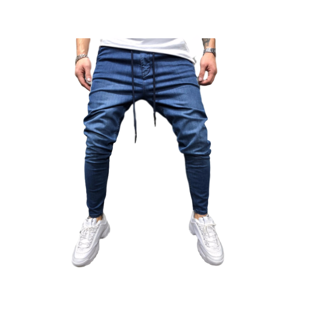 EH · MD® Beaded Jeans Men's Feet Casual Trousers Soft Fabric Large Pocket Solid Color Fashion Slim 2020 New Trendy Brand Black