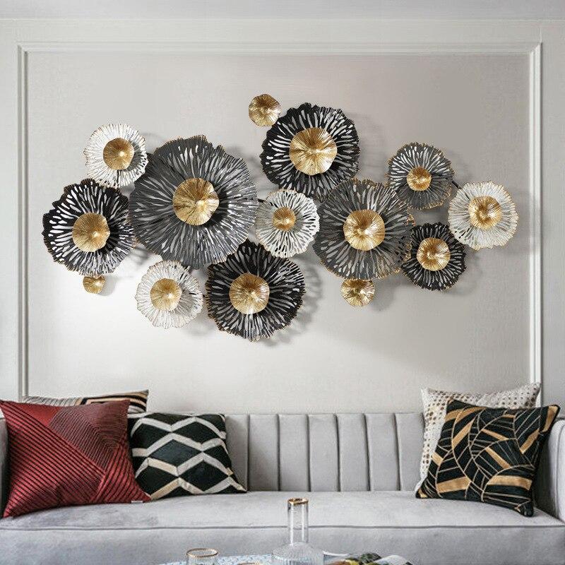 Creative Wall 3D Europe Luxury Iron Wall Decor for Living Room Handmade Metal Hanging Decoration Habitacion Iron Flowers Decor