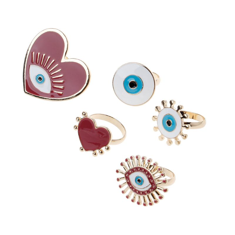 5Pcs Heart Enamel Evil Eye Open Band Women Rings Exaggerated Fashion Jewelry in Rings from Jewelry Accessories