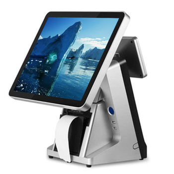 Restaurant POS 15 inch all in one touch POS terminal capacitive touch screen POS system with built-in VFD and 80mm printer