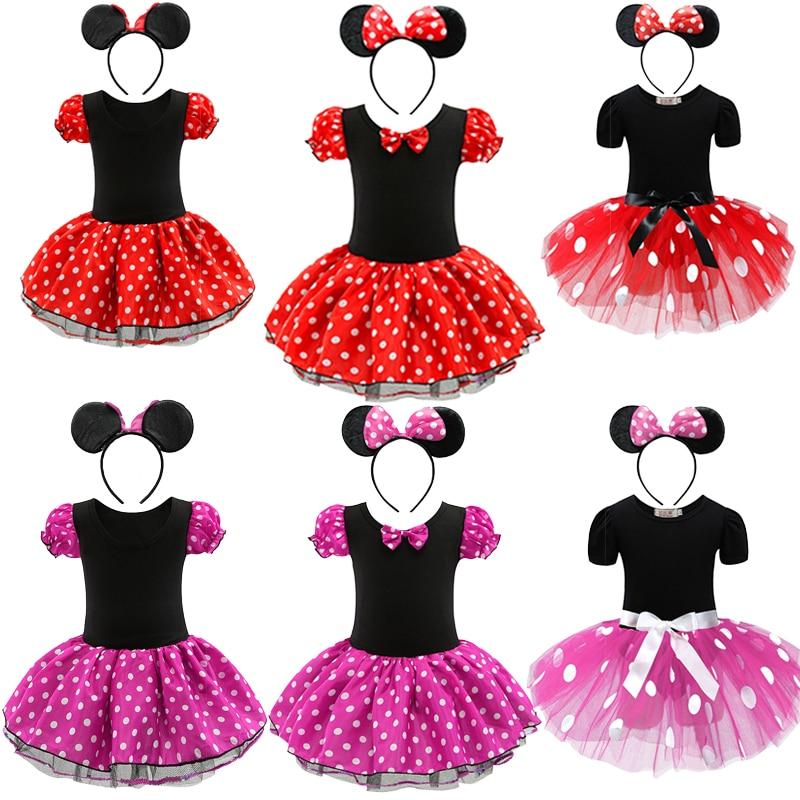 Girls Christmas Dress Kids Minnie Mickey Cartoon Mouse Costume Children Carnival Birthday Party Costume Child Clothes Headband
