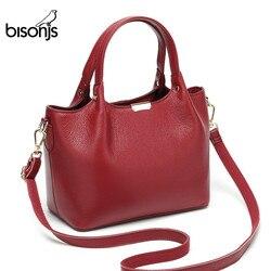 BISON DENIM роскошные сумки из натуральной кожи, женские сумки, дизайнерская женская сумка-тоут, повседневная сумка с верхней ручкой, женская сум...