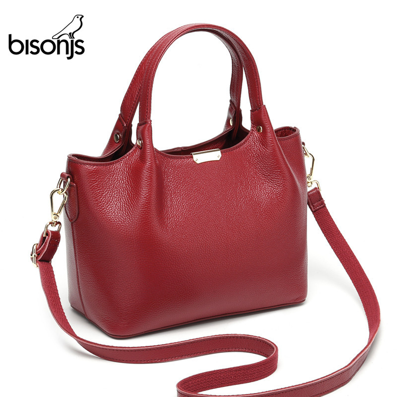 BISON DENIM Genuine Leather Luxury Handbags Women Bags Designer Women Tote Bag Casual Top-handle Bag Female Shoulder Bag B1621