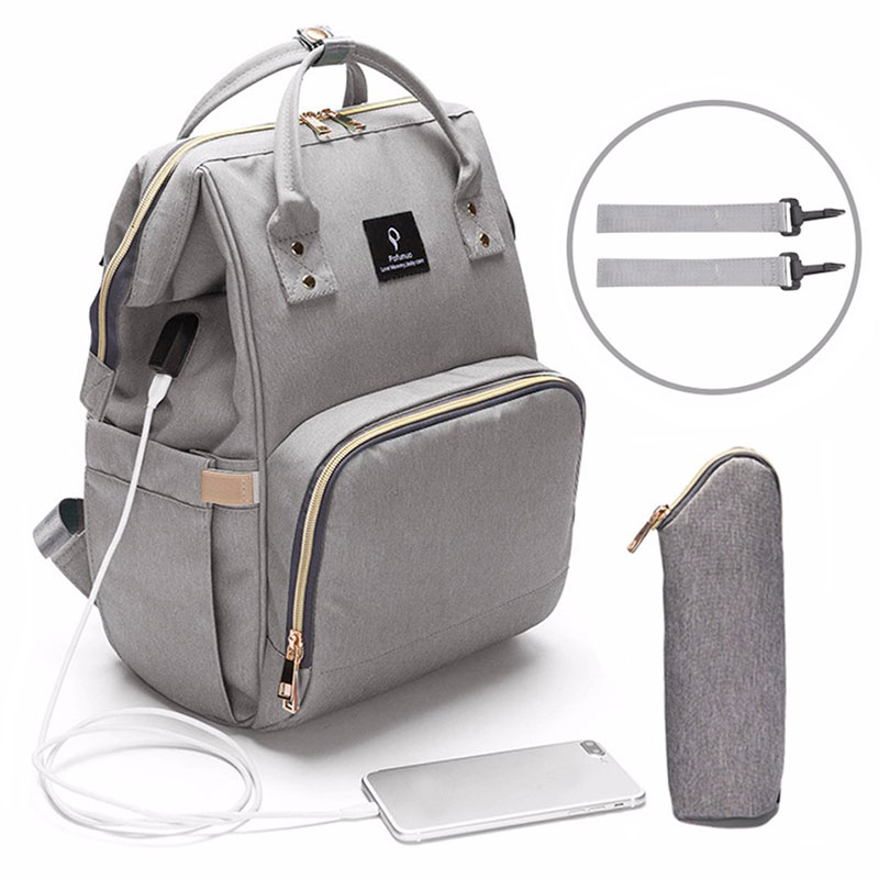 Baby Diaper Bag With USB Interface Large Capacity Travel Backpack Nursing Handbag Waterproof Nappy Bag For Baby Care With 2 Hook