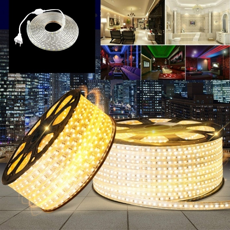 Waterproof LED Strip 220V IP67 Waterproof 120LEDs/M SMD 3014 Flexible Light + 4A Plug  For Outdoor Garden Tape Rope