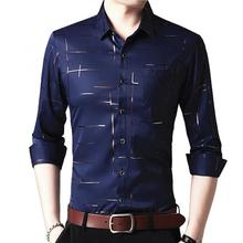 Men Long Sleeve Turn Down Collar Stripes Single-breasted Business Shirt Top