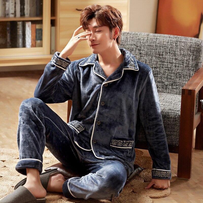 2019 Autumn Winter Men Pajamas Set Coral Fleece Pyjamas Men's Clothing Flannel Thicken Warm Sleepwear Homewear Plus Size XXXL