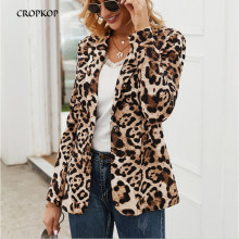 CROPKOR Fall Jackets OL Leopard Print Womens Blazer Fashion Spring Autumn Coat Windbreaker Outerwear Clothes Blouson Femme 2019(China)