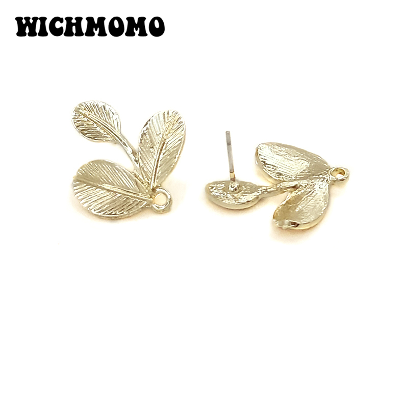 2020 New 24*21mm 6pcs High Quality Zinc Alloy Leaves Saplings Shape Earring Base Connectors For DIY Earring Jewelry Accessories