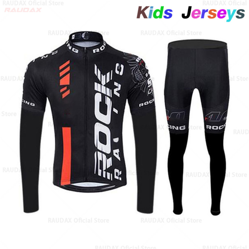 Children Boys Rock Antumn Cycling Clothing Kids Cycling Jersey 2019 Pro Team MTB Cycling Clothing Long Sleeve Spring Cycling Set