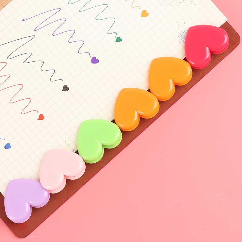 10 個ラブハートプランナー紙クリッププラスチックブックマークかわいいクリップかわいいバインダー文具店オフィス学用品