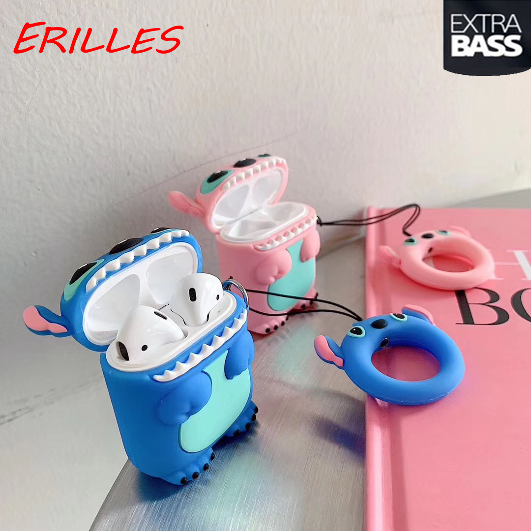 Leather Case Headphone Case  Silicone Cute Cartoon Stitch Earphone Case Leather Case Accessories For Apple Airpods 1 2