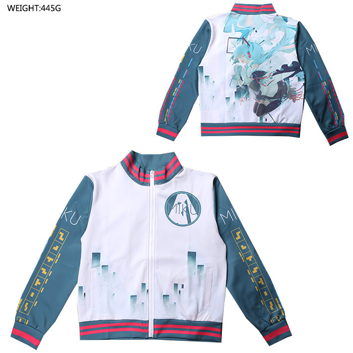Anime Peripheral Hatsune Miku COS Clothing Coat Long Sleeve Zipper Hoodie Winter Clothes Clothing