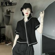[EAM]-Camiseta de manga corta con cuello en V para mujer, Camiseta de punto de línea negra, Irregular, talla grande, Moda de Primavera y verano, 2021