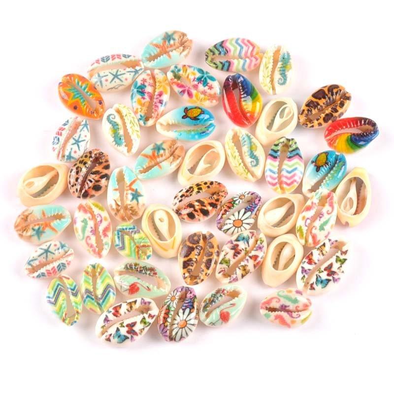 10pcs  Natural Shell Flower Painting Scrapbook Craft Seashells For Jewelry Bracelet Making Home Decoration  Handmade